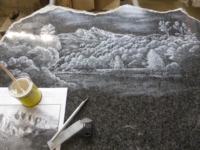 Gravure personnalisée stèle Izaourt Marbrerie Zamora Comminges