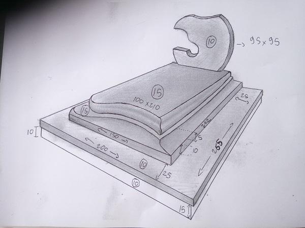 esquisse creation design sur-mesure tombe funeraire saint-gaudens marbrerie zamora